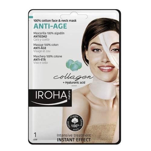 Iroha Bavlněná maska na obličej a krk s kolagenem a hyaluronovým sérem (Anti-Age 100% Cotton Face & Neck Mask) 30 ml