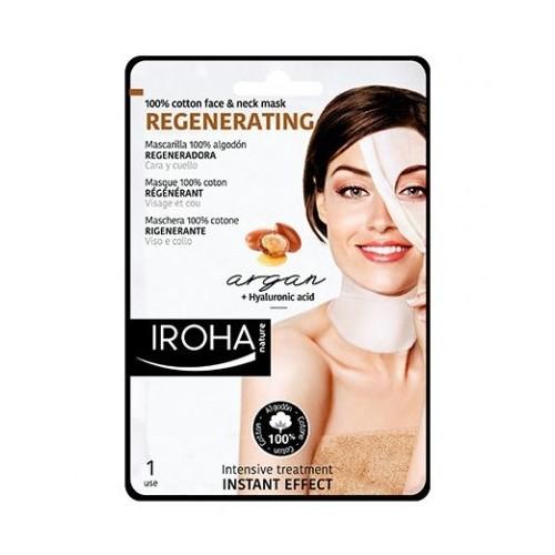 Iroha Intenzivní regenerační maska na obličej a krk sarganovým a hyaluronovým sérem (Regenerating 100% Cotton Face & Neck Mask) 30 ml