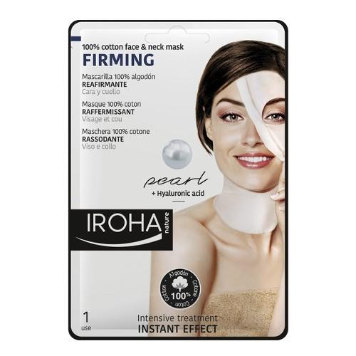 Iroha Zpevňující bavlněná maska na obličej a krk s perlovým a hyaluronovým sérem (Firming 100% Cotton Face & Neck Mask) 30 ml