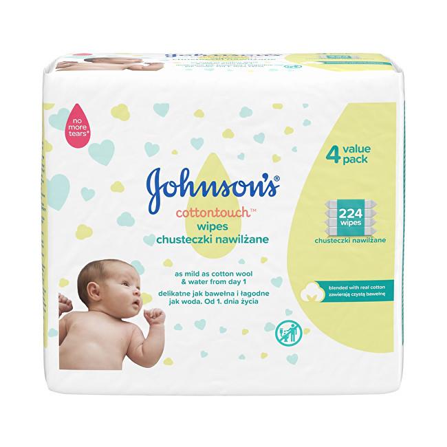 JOHNSON`S Baby Extra jemné vlhčené ubrousky pro děti Cottontouch (Extra Sensitive Wipes) 4 x 56 ks