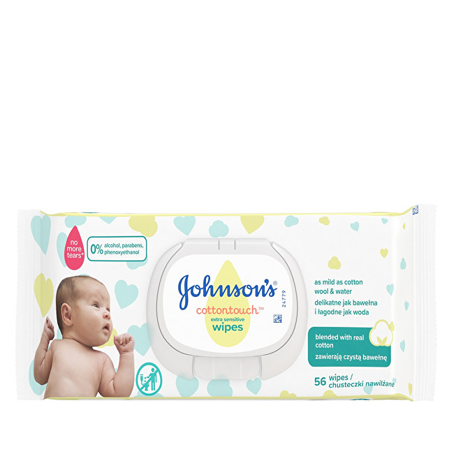 JOHNSON`S Baby Extra jemné vlhčené ubrousky pro děti Cottontouch (Extra Sensitive Wipes) 56 ks