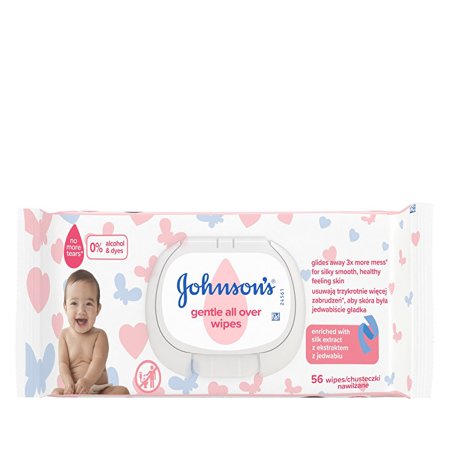 JOHNSON`S Baby Vlhčené ubrousky pro děti (Gentle All Over Wipes) 56 ks