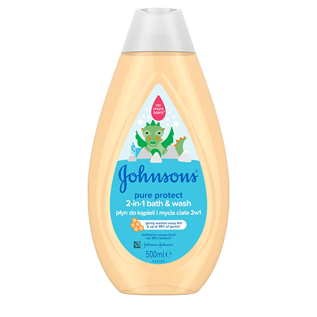 JOHNSON`S Baby Koupelový a mycí gel 2v1 Pure Protect (2-in-1 Bath & Wash) 500 ml