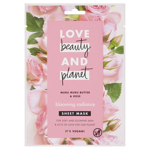 Love Beauty and Planet Textilná pleťová maska s ružovým olejom a maslom muru muru (Blooming Radiance Sheet Mask) 1 ks