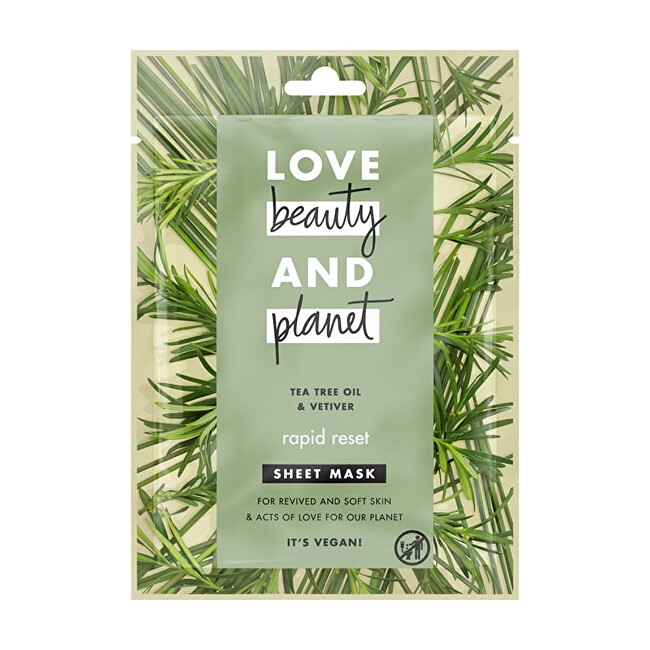 Love Beauty and Planet Textilní maska Tea Tree  Vetiver 1 ks