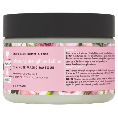 Love Beauty and Planet Maska na barvené vlasy s růžovým olejem a máslem muru muru (Blooming Strength and Shine 2 Minute Magic Masque) 300 ml