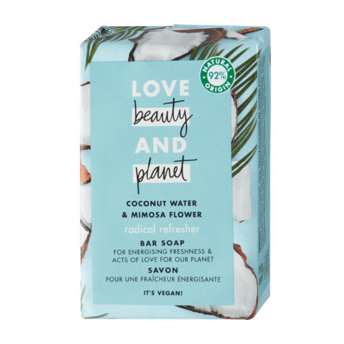 Love Beauty and Planet Tuhé mýdlo s kokosovou vodou a květy mimózy Radical Refresher Bar Soap 100 g
