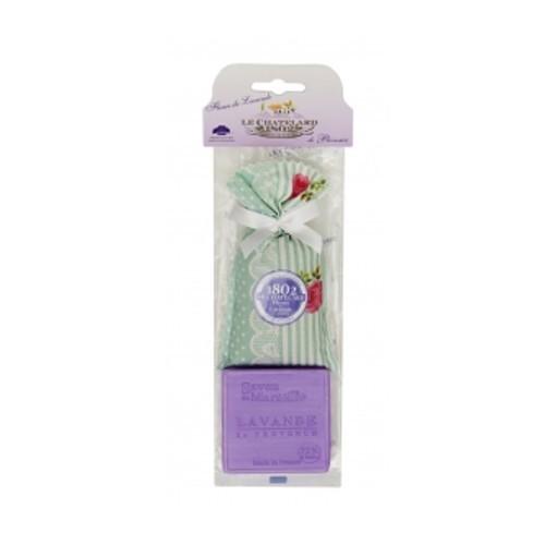 Le Chatelard Dárková sada Levandulový pytlíček 18 g + levandulové mýdlo ve tvaru čtverce 100 g