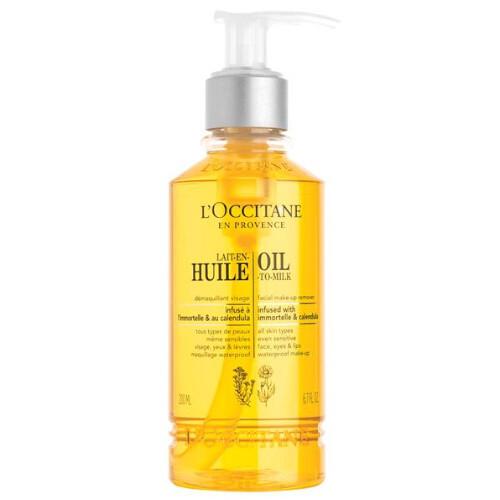 L`Occitane en Provence Odličovací olej s nechtíkom a slamienky pre žiarivý vzhľad pleti (Oil to Milk Mak-Up Remover) 200 ml