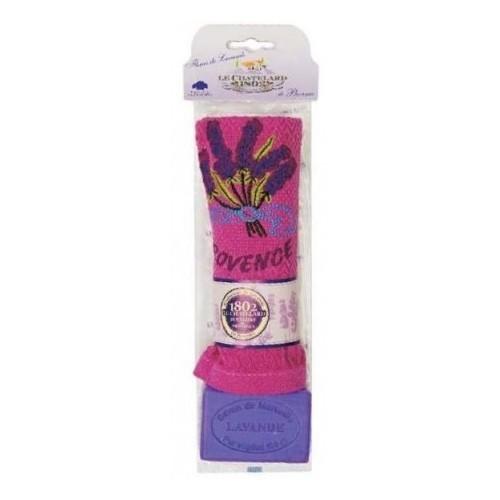Le Chatelard Sada bavlněného vyšívaného ručníčku a levandulového mýdla 100 g
