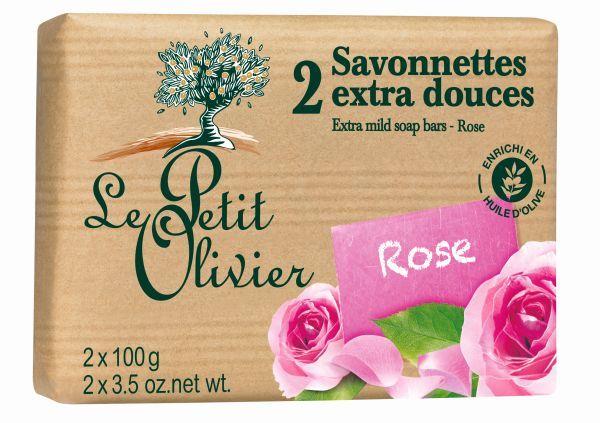 Le Petit Olivier jemné mýdlo Růže 2x 100 g