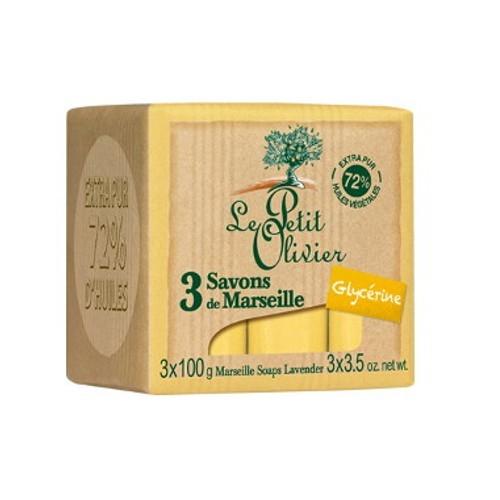 Le Petit Olivier Marseillské mýdlo s glycerinem (Marseille Soaps) 3 x 100 g