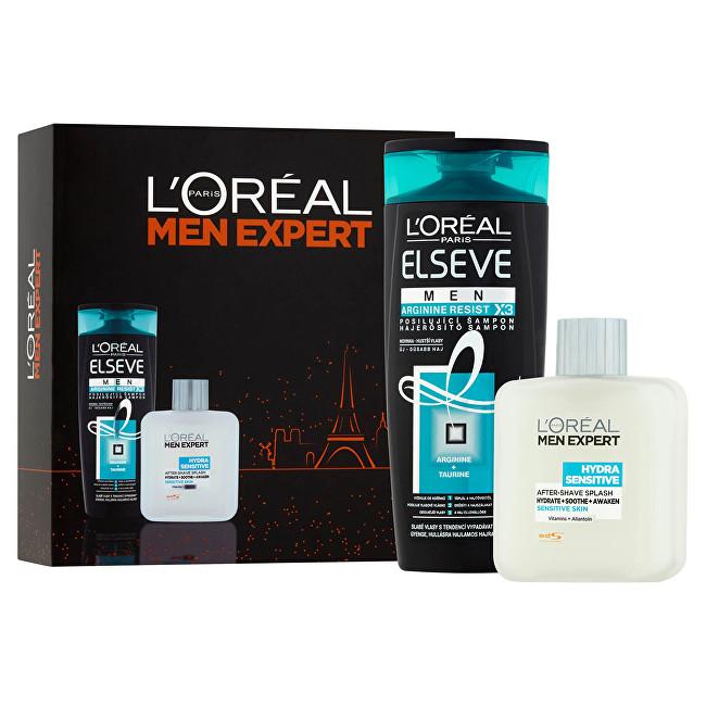 Loreal Paris pre mužov Men Expert: Posilňujúci šampón pre mužov Elseve MEN Arginine Resist X3 (Reinforcing Shampoo) 250 ml + Voda po holení pre citlivú pleť Men Expert (Hydra) Darčeková sada