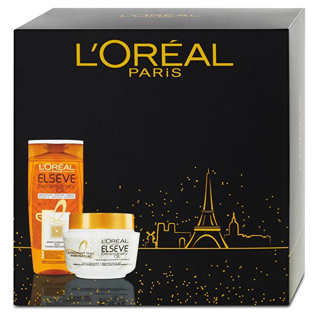 Loreal Paris Elseve Extraordinary Oil Kokosový olej šampon pro normální až suché, nepoddajné vlasy 250 ml + Huile Extraordinaire Coco maska na vlasy 300 ml dárková sada