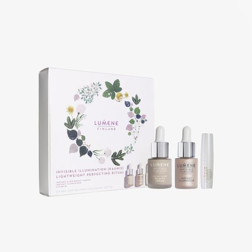Lumene Rozjasňujúce pleťové sérum Invisible Illumination ( Instant Glow Beauty Serum) 15 ml   Tekutý rozjasňovač Rosy Dawn (Invisible Illumination Nordic Light Instant Illuminizer) 15 m Darčeková sada