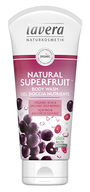 Lavera Sprchový a koupelový gel Natural Superfruit Bio acai a Bio kustovnice Body Wash Gel 200 ml