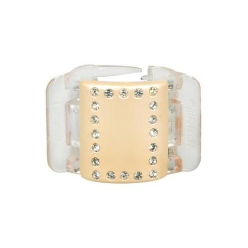 Linziclip Střední skřipec MIDI - perleťově žlutý s krystalky