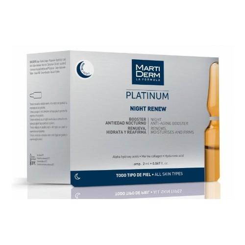 Martiderm Ampule pro noční péči o pleť s kyselinou hyaluronovou Platinum Night Renew 10 x 2 ml