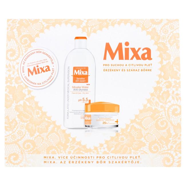 Mixa Intensive Care Dry Skin výživný krém 50 ml + micelární voda 400 ml dárková sada