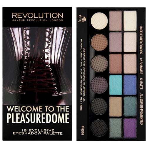 Makeup Revolution Limitovaná paletka 18 očních stínů Welcome to the Pleasuredome