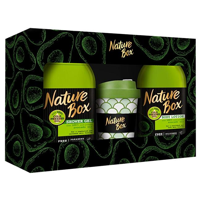 Nature Box Avokádo Regenerační sprchový gel se 100% za studena lisovaným olejem 385 ml + tělové mléko 385 ml + termohrnek dárková sada