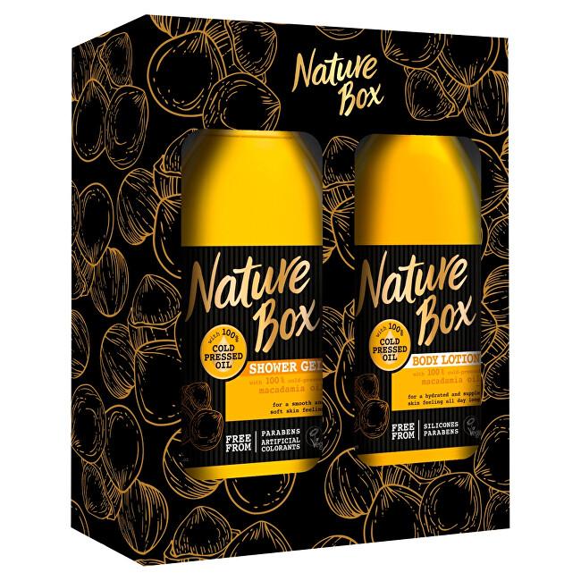 Nature Box Makadamia sprchový gel se 100% za studena lisovaným olejem 385 ml + tělové mléko 385 ml dárková sada