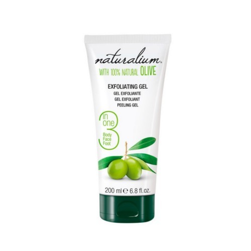 Naturalium Tělový peelingový gel s olivovým olejem 3v1 (Exfoliating Gel) 200 ml - SLEVA - poškozené víčko