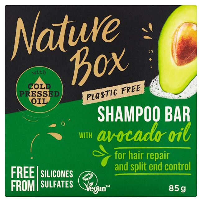 Nature Box Tuhý šampon pro regeneraci vlasů a kontrolu roztřepených konečků Avocado Oil (Shampoo Bar) 85 g - SLEVA - poškozená krabička
