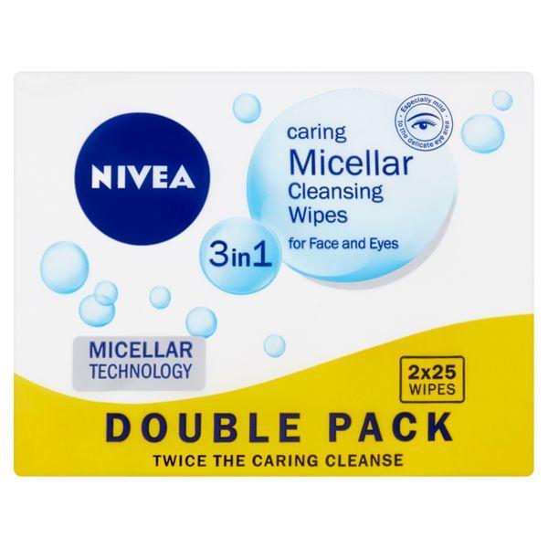 Nivea Čisticí pleťové micelární ubrousky 3v1 Duopack (Cleansing Wipes) 2x25 ks