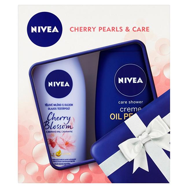 Nivea Hydratačné telové mlieko Cherry Blossom 200 ml + Ošetrujúci sprchový gél Creme Oil Pearls Cherry Blossom (Care Shower) 250 ml Darčeková sada