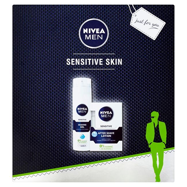 Nivea Men Sensitive pre mužov voda po holenie 100 ml gel na holenie 200 ml darčeková sada