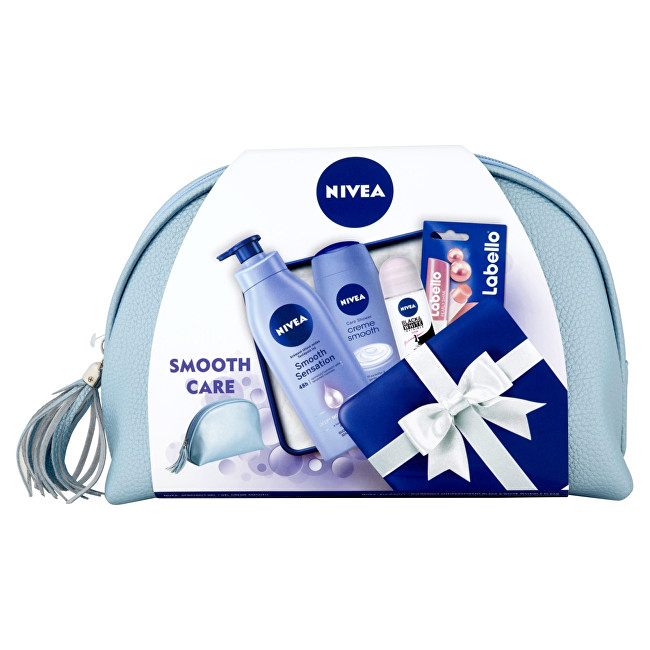 Nivea Krémové telové mlieko pre suchú pokožku Smooth Sensation 400 ml + Sprchový gél Creme Smooth 250 ml + Guľôčkový antiperspirant Invisible For Black & White Clear 5 Darčeková sada