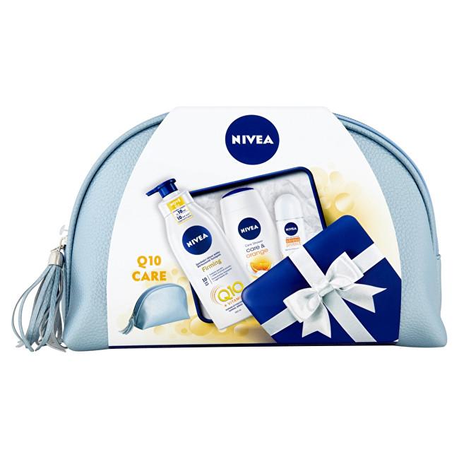 Nivea Care & Orange pro ženy sprchový gel 250 ml + zpevňující tělové mléko Q10 400 ml + antiperspirant roll-on Stress Protect 50 ml + kosmetická taška dárková sada