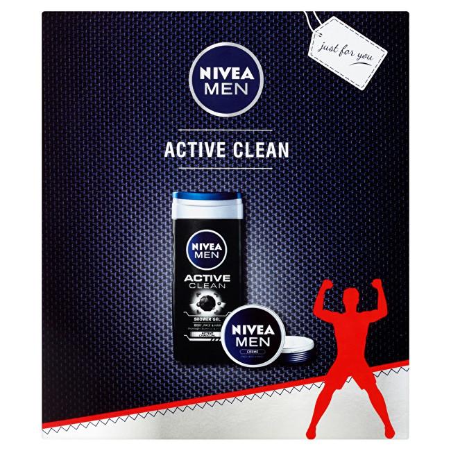 Nivea Men Active Clean pro muže sprchový gel 250 ml + Creme 75 ml dárková sada