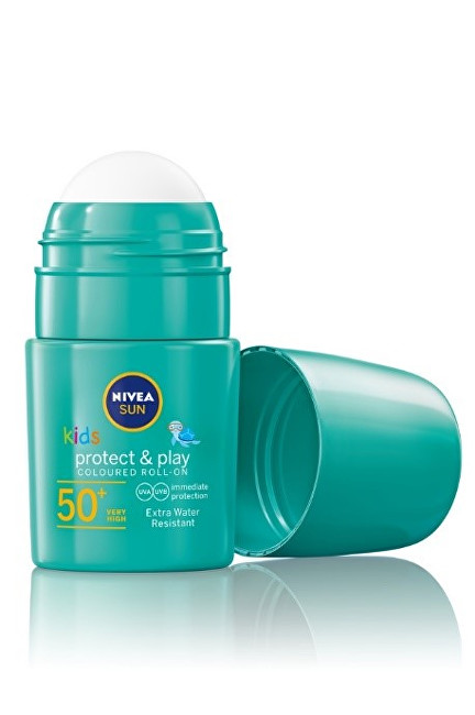 Nivea Dětské zelené mléko na opalování v kuličce OF 50+ (Protect & Play Coloured Roll On) 50 ml