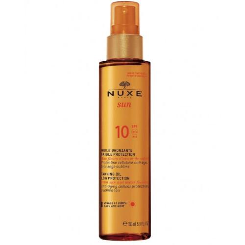 Nuxe Bronzující olej na opalování na obličej a tělo Sun SPF 10 (Tanning Oil Low Protection) 150 ml