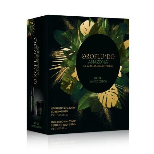 Orofluido Amazonia Regenerační balzám 100 ml + tělový krém 175 ml + Vonná svíčka dárková sada