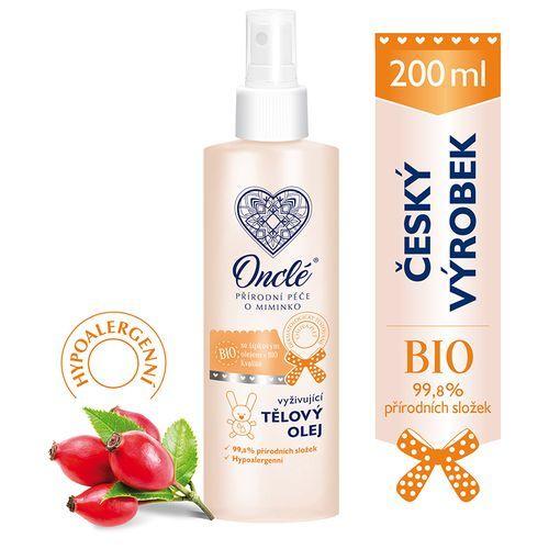 Onclé Luxusní dětský vyživující tělový olej do koupele a po koupeli s Bio šípkovým olejem 200 ml