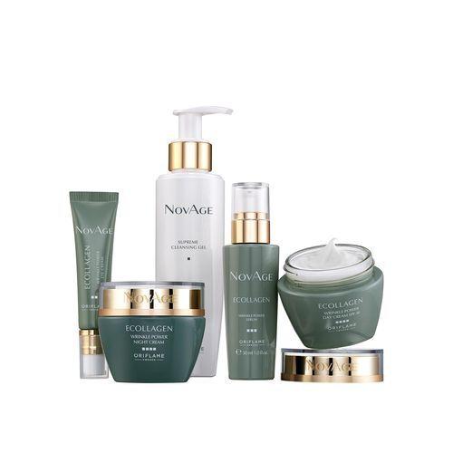 Oriflame NovAge Ecollagen Wrinkle Power čisticí pleťový gel 200 ml + oční krém 15 ml + noční sérum 30 ml + denní krém 50 ml + noční krém 50 ml dárková sada