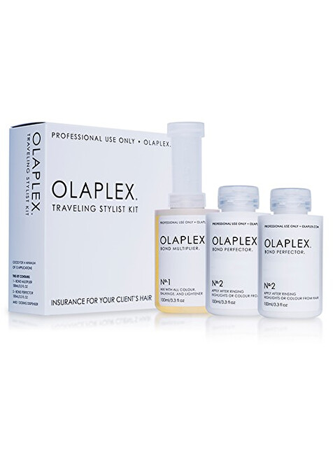 Olaplex Traveling Stylist Bond Multiplier No. 1 100 ml   Bond Perfector No. 2 2 x 100 ml   Dosing Dispenser darčeková sada