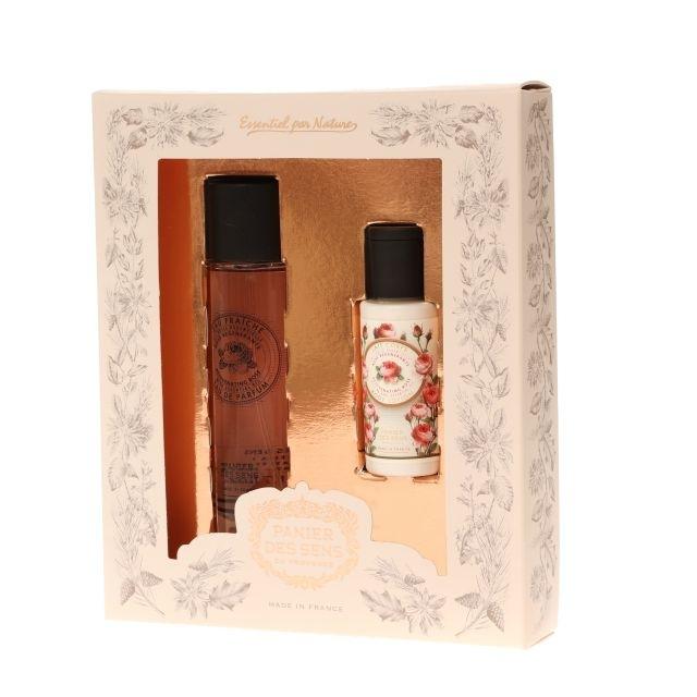 Panier des Sens Toaletná voda pre ženy Ruže (EDT) 50 ml + denné mlieko na telo a ruky Ruža (Hand & Body Lotion) 50 ml darčeková sada