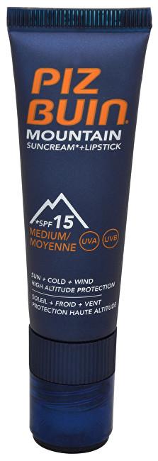Fotografie Piz Buin Mountain 2 v 1 sluneční krém SPF 15 a ochranný balzám na rty SPF 30 20 ml + 2,3 ml