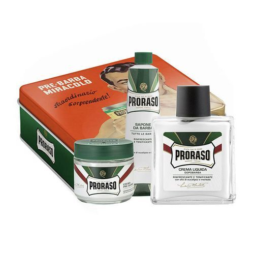 Proraso Green Vintage Selection Gino krém na holenie 150 ml + krém pred holením 100 ml + balzam po holení s vôňou mentolu a eukalyptu 100 ml darčeková sada
