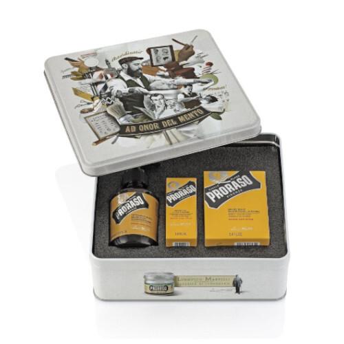Proraso Klasická dárková sada přípravků na plnovous s vůní dřeva a koření Wood & Spice - SLEVA - poškozená krabička