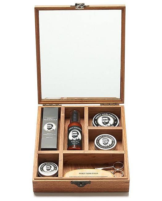 Percy Nobleman Luxusná darčeková sada starostlivosti o fúzy a fúzy v drevenom boxe