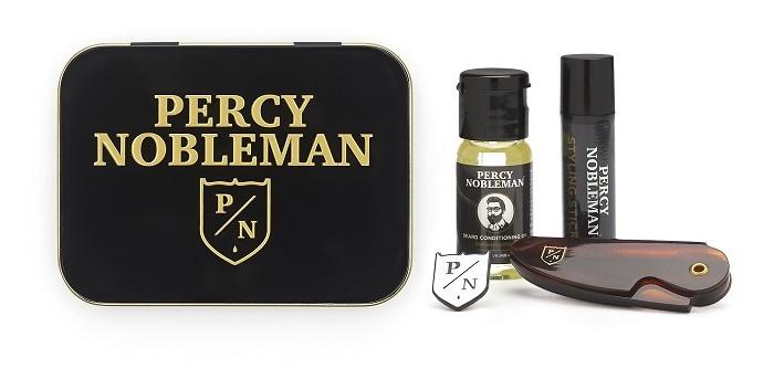 Percy Nobleman Stylingový vosk na vousy 5 ml + skládací cestovní hřebínek na vousy dárková sa knír + vyživující olejový kondicionér na vousy 10 ml + brož s logem Percy Nobleman, pro muže sada na vousy