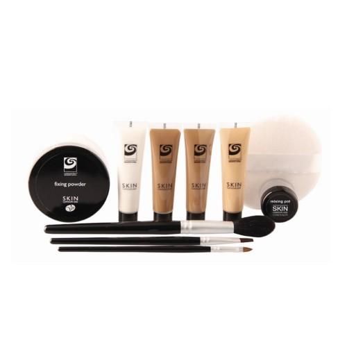 Rio-Beauty Skin Camouflage make-up + pudr + štětce + houbička dárková sada