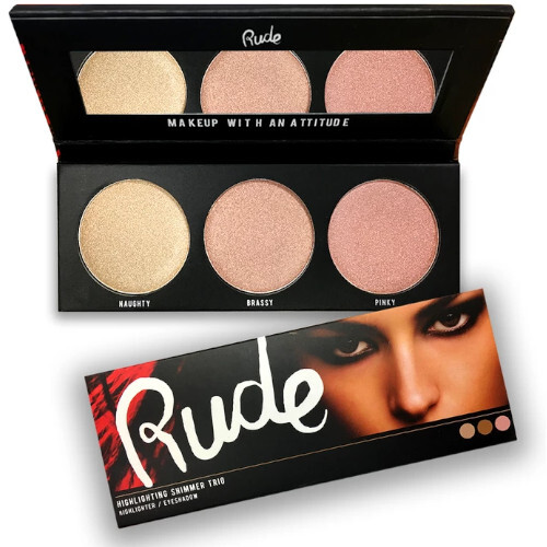 RUDE® Cosmetics Paletka 3 rozjasňovačov a očných tieňov v jednom highlighting Shimmer Trio (Highlighter Eyeshadow) 16,2 g