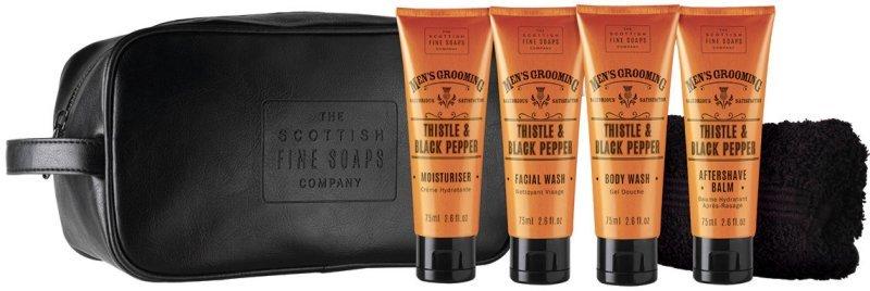 Scottish Fine Soaps Cestovná sada Bodliak a čierne korenie Pleť ový krém 75 ml + umývací gél na tvár 75 ml + sprchový gél 75 ml + balzam po holení 75 ml + uterák