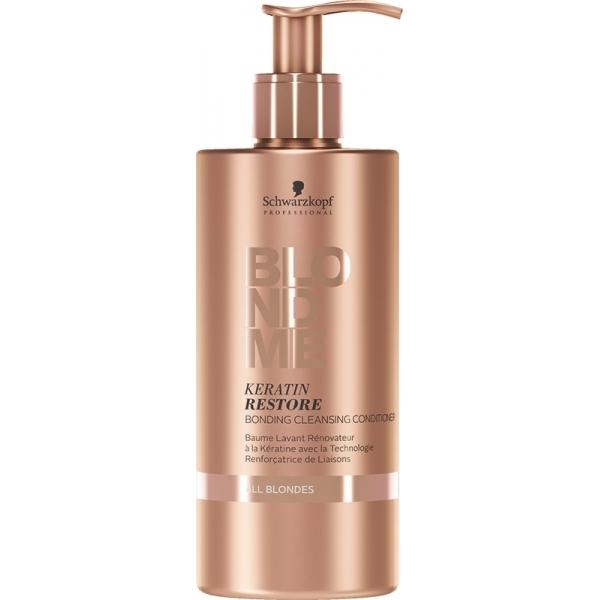 Schwarzkopf Professional Čisticí keratinový kondicionér pro blonďaté vlasy BLONDME (Keratin Restore Bonding Cleansing Conditioner) 500 ml